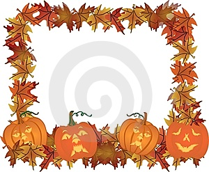 Carved Pumpkins Making A Frame Border.. Royalty Free Stock Photo - Image: 8560665