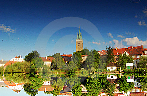 Lake Reflection Of Telc Stock Image - Image: 8560971