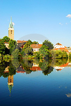 Telc Tower And Houses Mirror Reflection Royalty Free Stock Images - Image: 8561389
