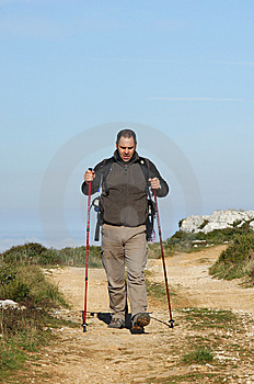 Man In A Top Of A In Mountain Hiking Royalty Free Stock Photo - Image: 8562345