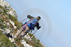 Man In A Top Of A In Mountain Hiking Royalty Free Stock Image - Image: 8562366