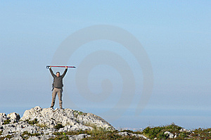Man In A Top Of A In Mountain Hiking Stock Photo - Image: 8562390