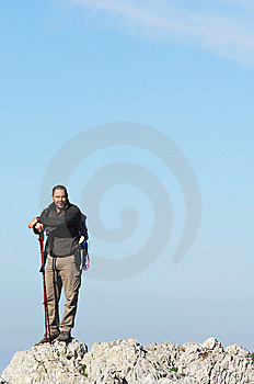 Man In A Top Of A In Mountain Hiking Stock Photos - Image: 8562413