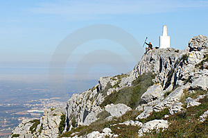 Man In A Top Of A In Mountain Hiking Royalty Free Stock Photos - Image: 8562488