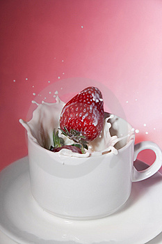 Strawberry In Cream Stock Photography - Image: 8562772