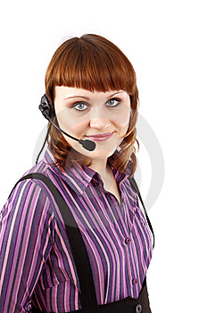 Beautiful Representative Girl With Headset Stock Photos - Image: 8564643