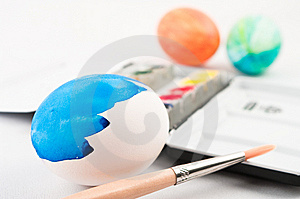 Half Painted Easter Egg With Brush Stock Image - Image: 8567511