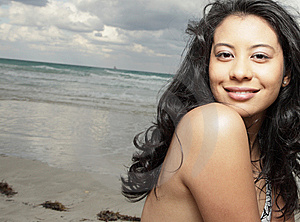Young Woman At The Beach Royalty Free Stock Image - Image: 8568446