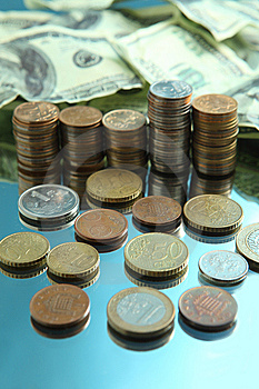 Cash Dollars And Pile Of Coins Stock Photos - Image: 8568623