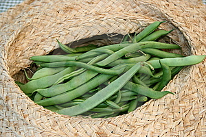 String Beans In A Basket Stock Images - Image: 8571144
