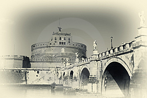 San Angelo Bridge And Castle In Rome,Italy Stock Photos - Image: 8571993