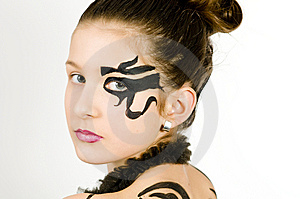 Closeup Girl With Scorpio Painted On Back Stock Images - Image: 8572834