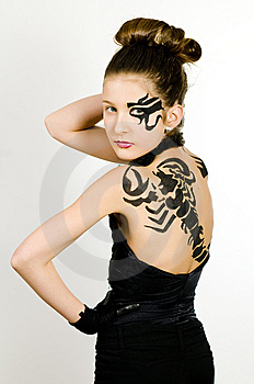 Girl With Scorpio Painted On Back Stock Image - Image: 8573011