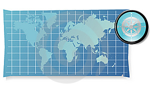 Map With Compass Stock Photo - Image: 8573680