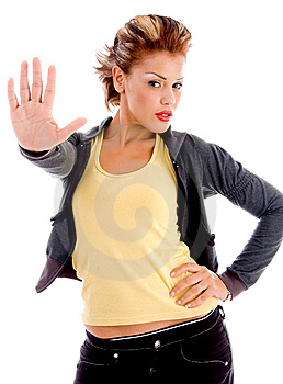 Sexy Woman Stopping Hand Gesture Royalty Free Stock Image - Image: 8574146