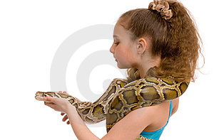 Girl With Pet Python Royalty Free Stock Image - Image: 8576146