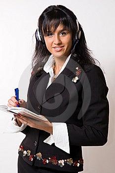 La Mujer En Auriculares Fotografía de archivo - Imagen: 8576912