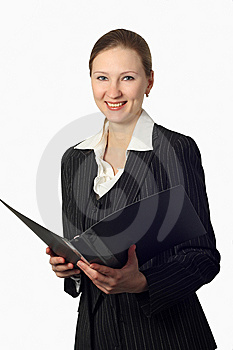 Young Beautiful Businesswoman With Folder Stock Images - Image: 8578214