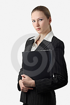 Young Beautiful Businesswoman With Folder Royalty Free Stock Photos - Image: 8578228