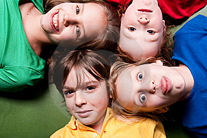 Happy color schoolkids Stock Photo