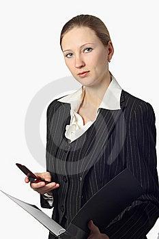 Mulher De Negócios Bonita Nova Com Dobrador E Pilha Imagem de Stock - Imagem: 8578251