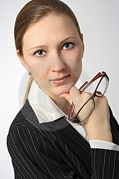 Young Beautiful Businesswoman With Glasses Royalty Free Stock Photography - Image: 8578307