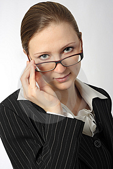 Young Beautiful Businesswoman With Glasses Royalty Free Stock Photos - Image: 8578328