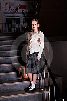 Lovely Girl On The Stairs Royalty Free Stock Photography - Image: 8578347