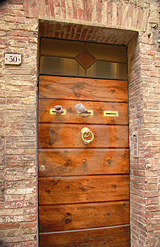 Wooden  Entrance Door With Brass Post Boxes Stock Images - Image: 8578374