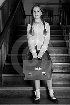 Good Girl On The Stairs Royalty Free Stock Photo - Image: 8578395