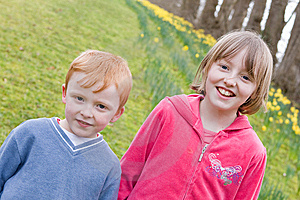 Brother And Sister In Park Royalty Free Stock Image - Image: 8578436