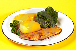 Cutlet With Broccoli And Potatoes Royalty Free Stock Images - Image: 8578699
