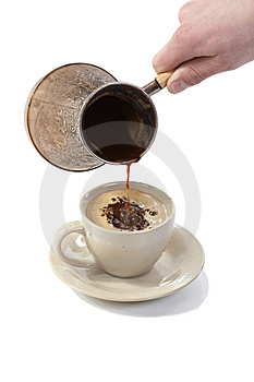 Coffee Poured From Coffee Maker In Cup Royalty Free Stock Images - Image: 8579489