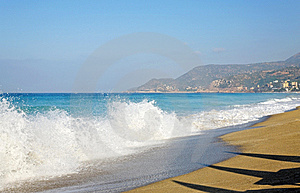 Sea, Waves And Sandy Beach. Royalty Free Stock Photography - Image: 8580557