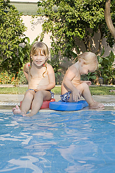 Two Children In A Pool Stock Photo - Image: 8581980