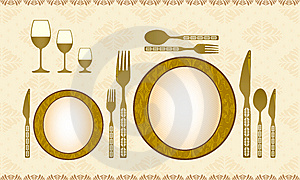 Spoon, Knife, Fork, Plate And Wineglass Stock Photo - Image: 8582980