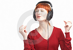 Beauty Girl In Head Phones Stock Image - Image: 8585301