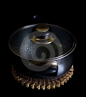 Saucepan On Black Royalty Free Stock Photography - Image: 8585567