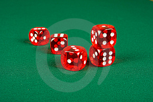 Red Dice On Casino Table Stock Images - Image: 8586614