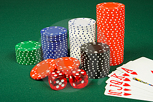 Chips ,dices And Cards Royalty Free Stock Image - Image: 8586626