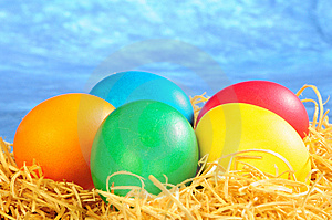 Five Painted Eggs On A Straw Royalty Free Stock Photos - Image: 8589318