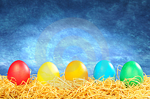 Five Painted Eggs Stock Images - Image: 8589334