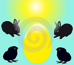 Two Black Baby Rabbits With Two Chicks Royalty Free Stock Photo - Image: 8589935
