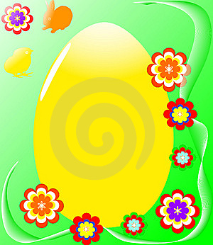 Easter Egg With Flowers Royalty Free Stock Photos - Image: 8589978