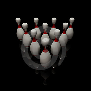 Bowling Pins On A Black Royalty Free Stock Image - Image: 8590276