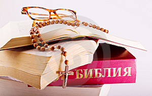 Open Bible With Rosary And Glasses Stock Image - Image: 8590721