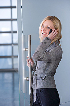 Business Woman On A Cell Phone Royalty Free Stock Images - Image: 8593089
