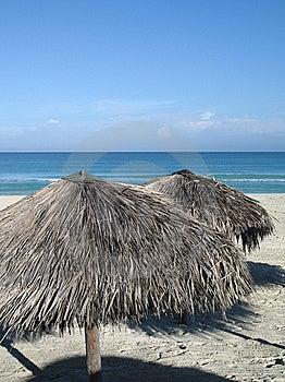 Parasols On The Beach Royalty Free Stock Photo - Image: 8594205