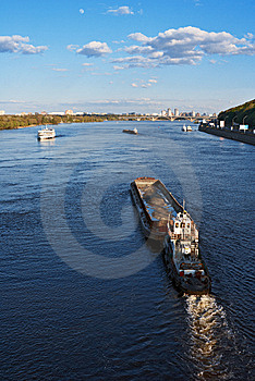 Barge On River Stock Images - Image: 8595454