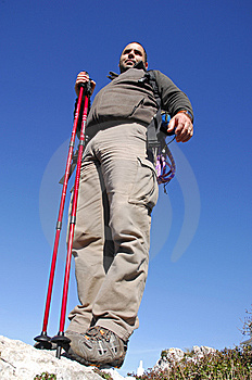 Man In A Top Of A In Mountain Hiking Royalty Free Stock Photography - Image: 8595887